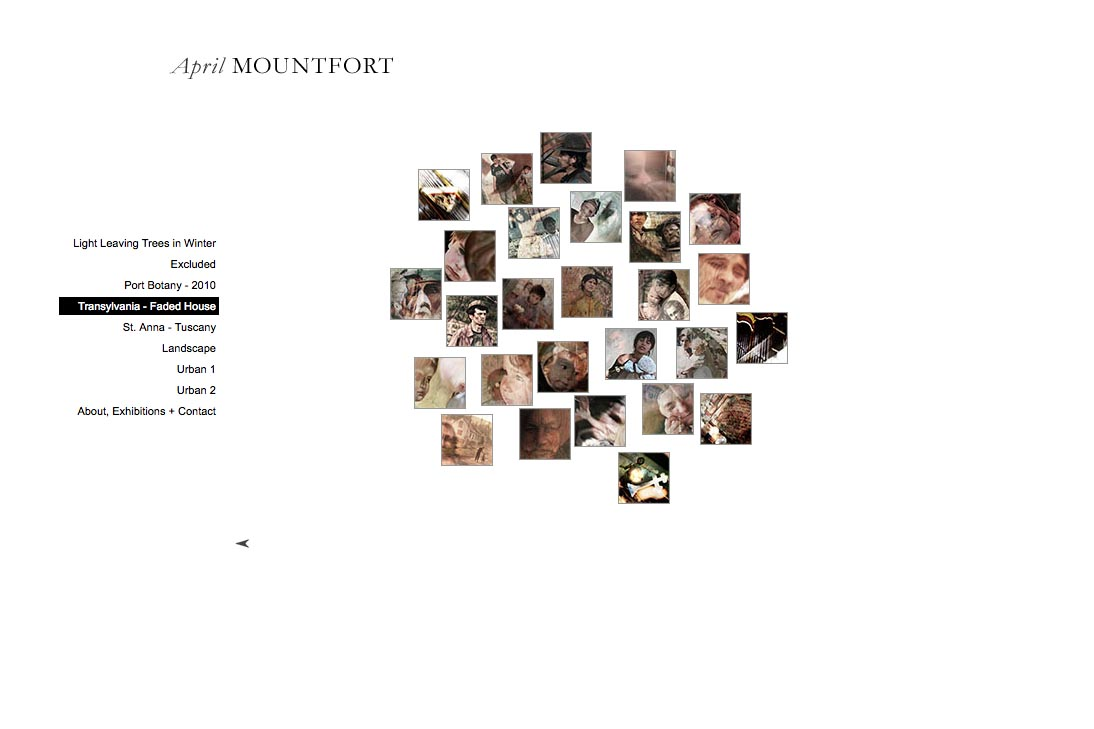web design for a photographic artist - April Mountfort - thumbnails page for transylvania portfolio