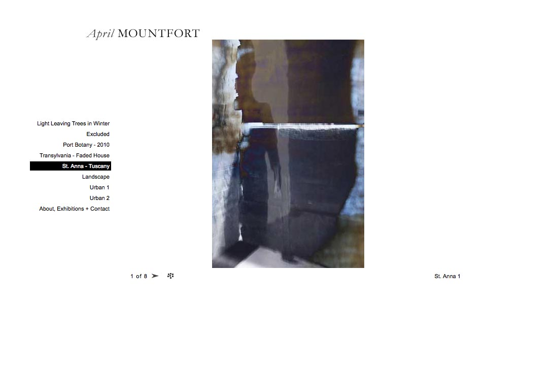 web design for a photographic artist - April Mountfort - single artwork page from saint ann's portfolio