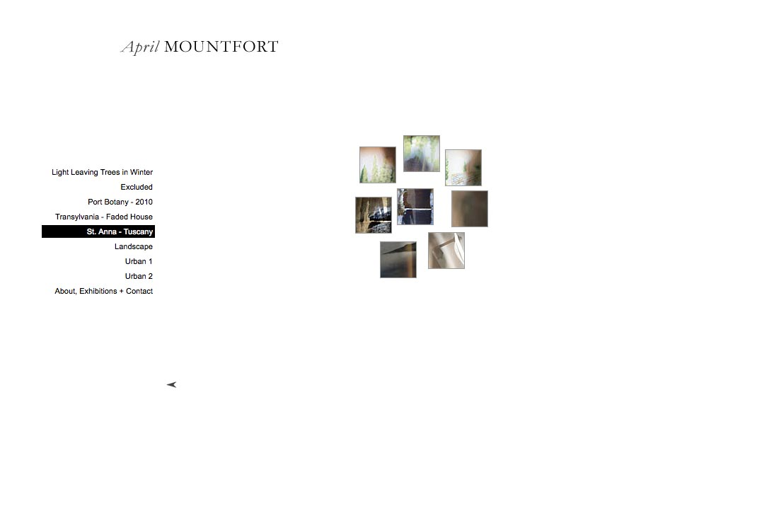 web design for a photographic artist - April Mountfort - thumbnails page for saint ann's portfolio