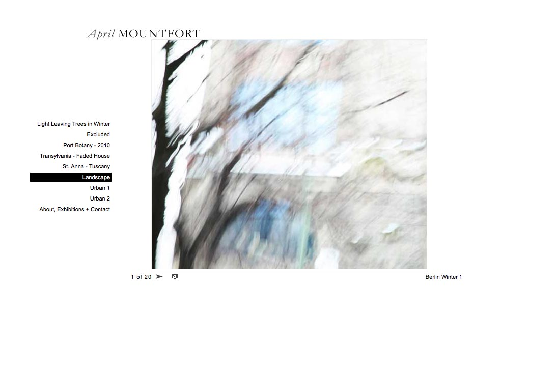web design for a photographic artist - April Mountfort - single artwork page from landscape portfolio