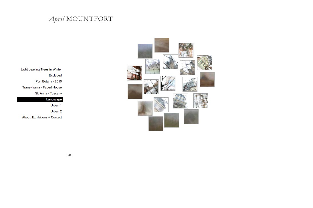 web design for a photographic artist - April Mountfort - thumbnails page for landscape portfolio