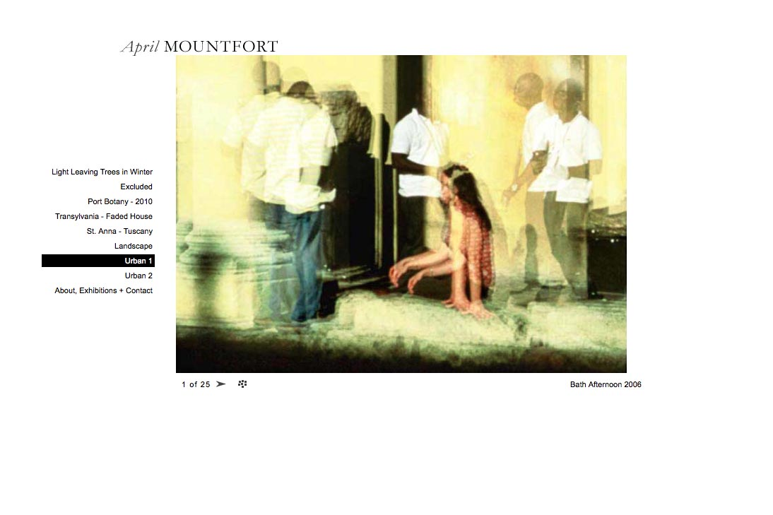 web design for a photographic artist - April Mountfort - single artwork page from urban1 portfolio