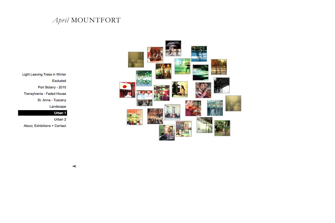 web design for a photographic artist - April Mountfort - thumbnails page for urban1 portfolio