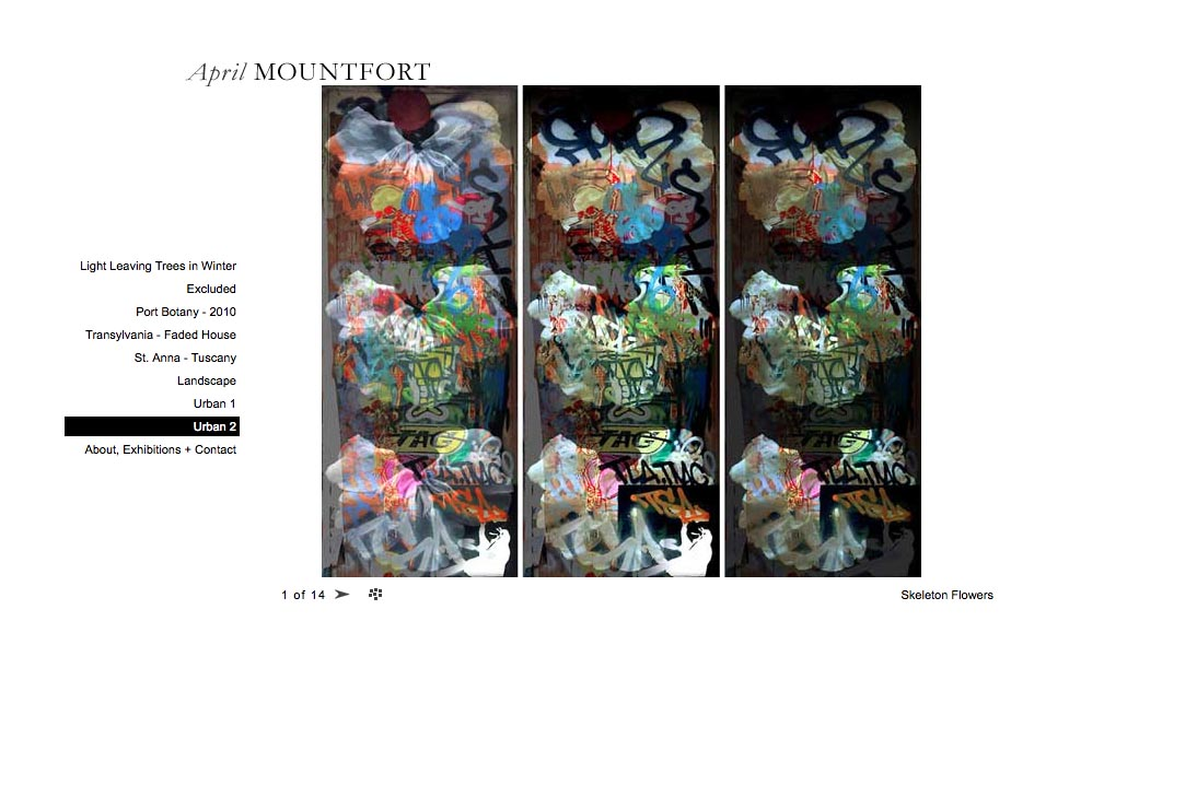 web design for a photographic artist - April Mountfort - single artwork page from urban2 portfolio