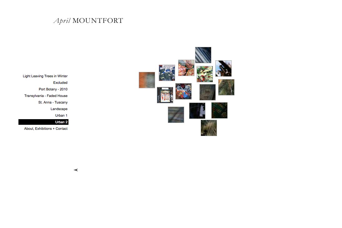web design for a photographic artist - April Mountfort - thumbnails page for urban2 portfolio