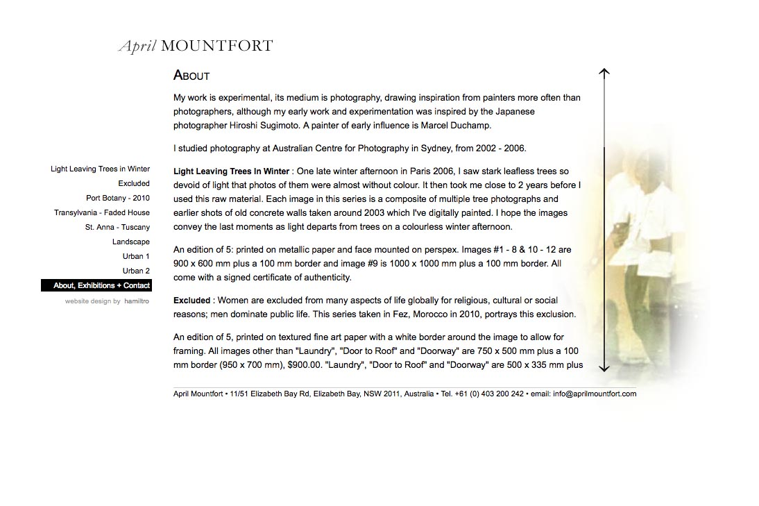 web design for a photographic artist - April Mountfort - about page