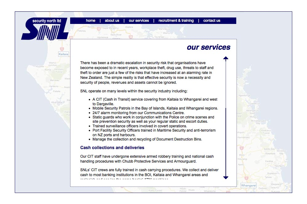 web design for a security company - our services page