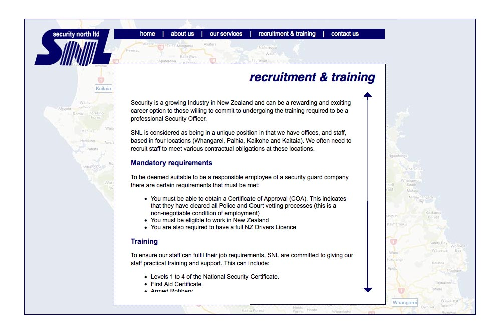 web design for a security company - recruitment and training page