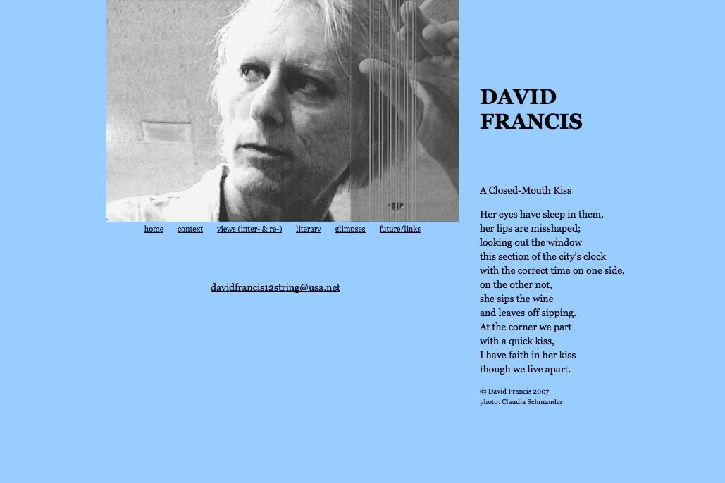 web design for a poet and singer - David Francis - home page