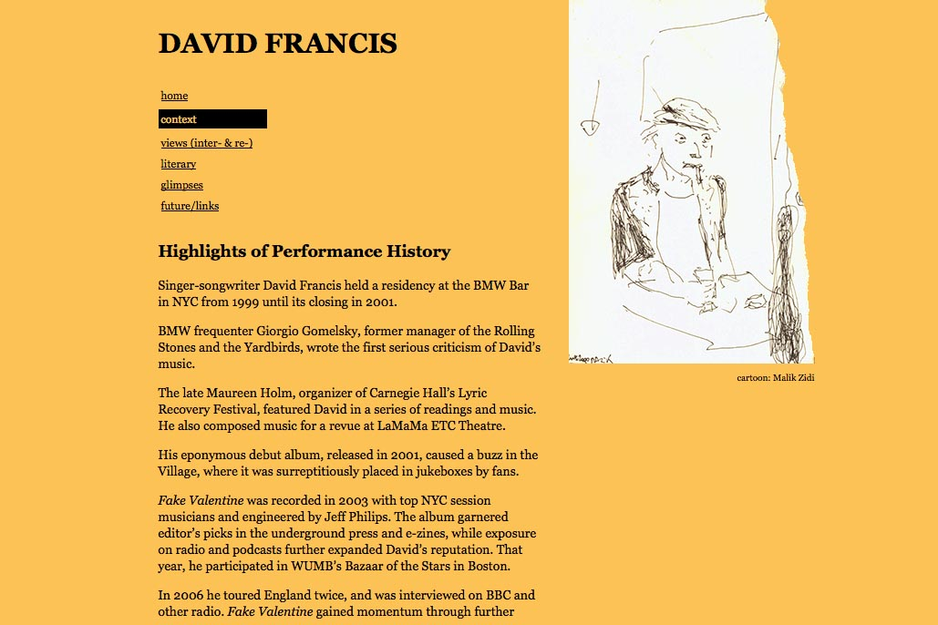 web design for a poet and singer - David Francis - context page