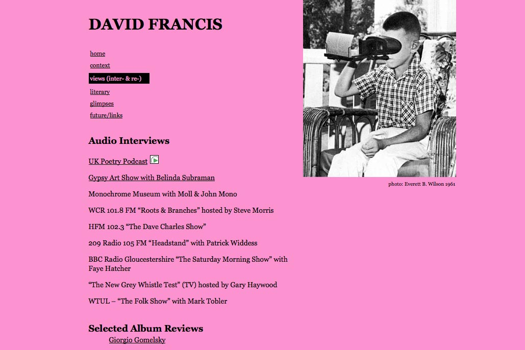 web design for a poet and singer - David Francis - views and reviews page