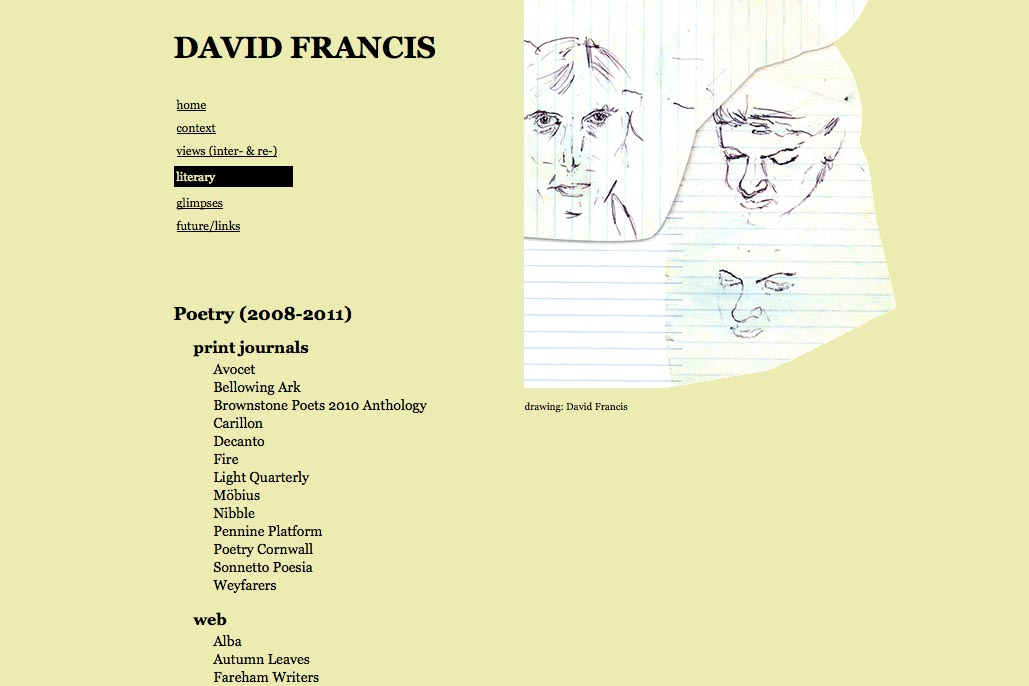 web design for a poet and singer - David Francis - literary page