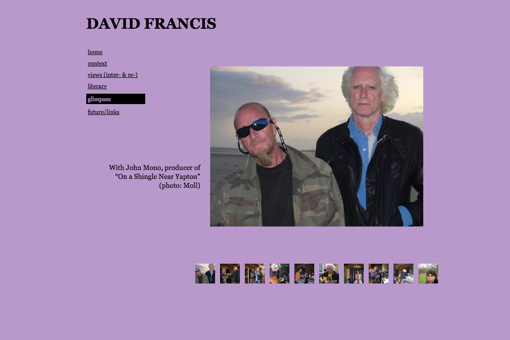web design for a poet and singer - David Francis - glimpses page