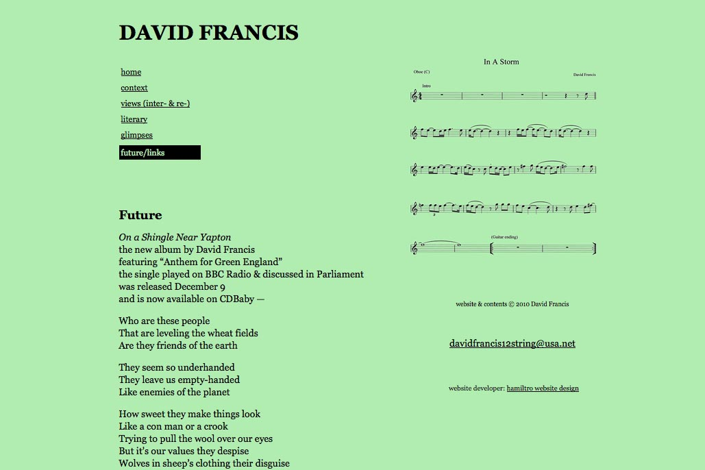 web design for a poet and singer - David Francis - future and links page
