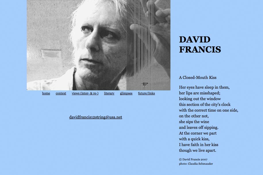 web design for a poet and singer - David Francis