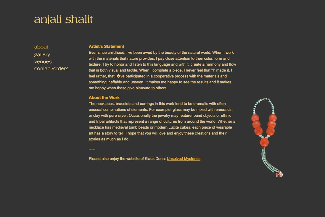 web design for a jeweler - Anjali Shalit - about page