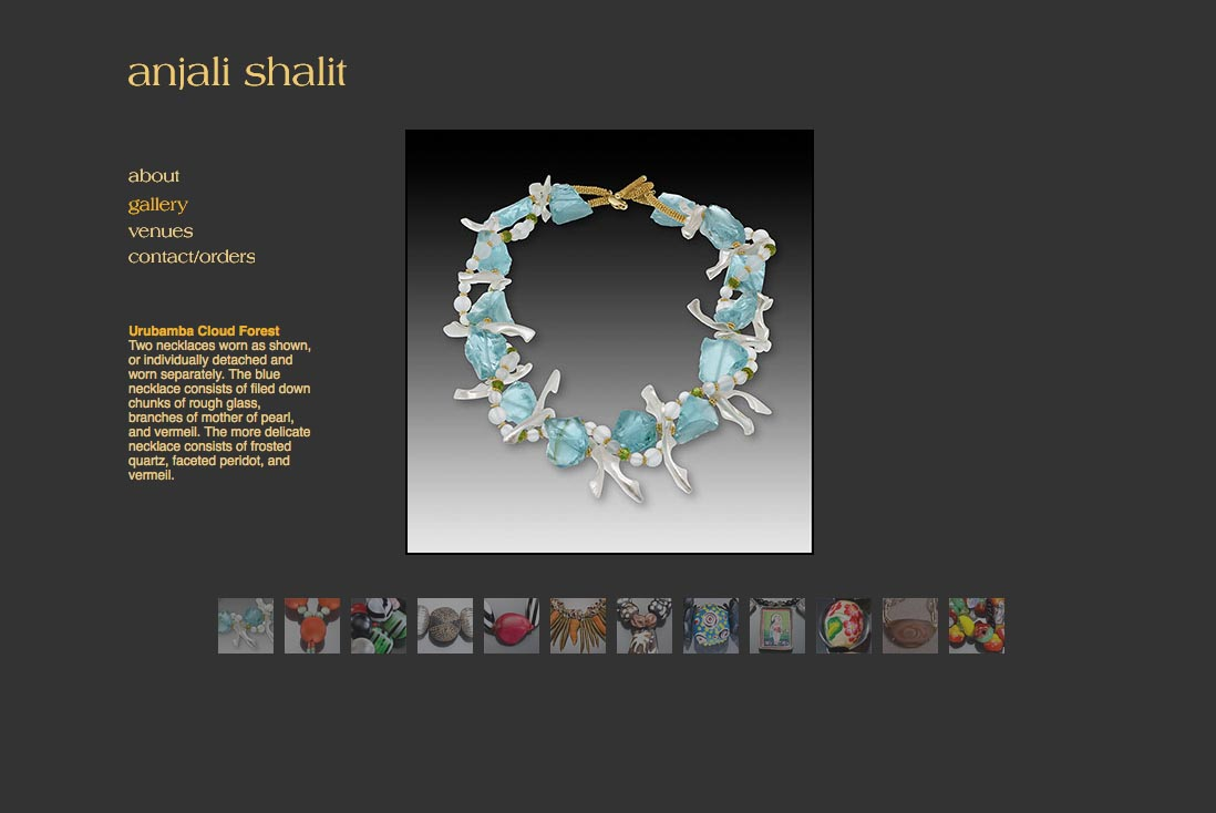 web design for a jeweler - Anjali Shalit - gallery page