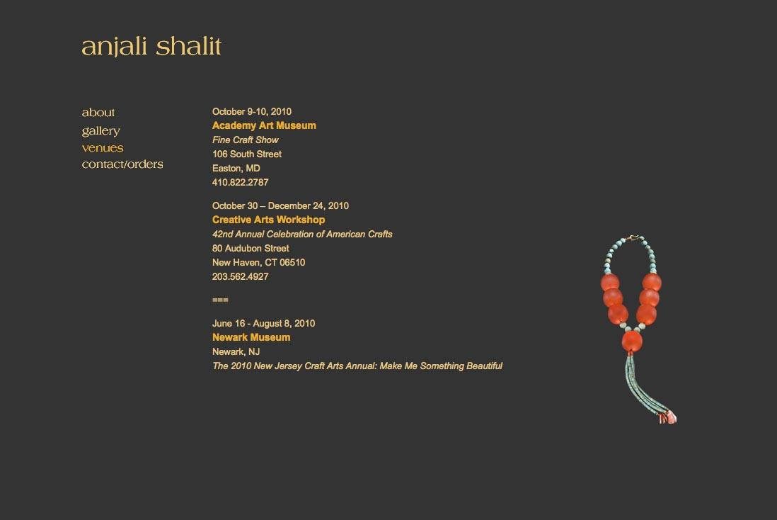 web design for a jeweler - Anjali Shalit - venues page