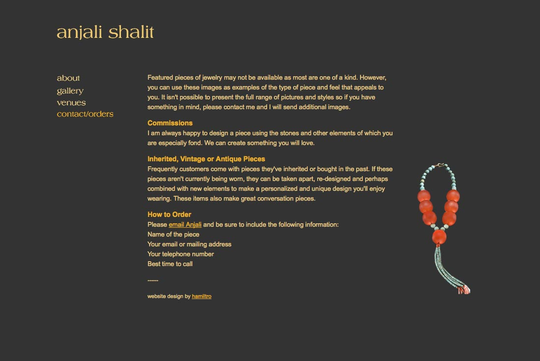 web design for a jeweler - Anjali Shalit - contact page