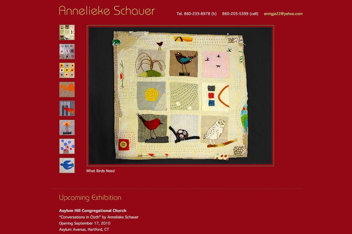 Web design for a fabric artist - Annelieke Schauer