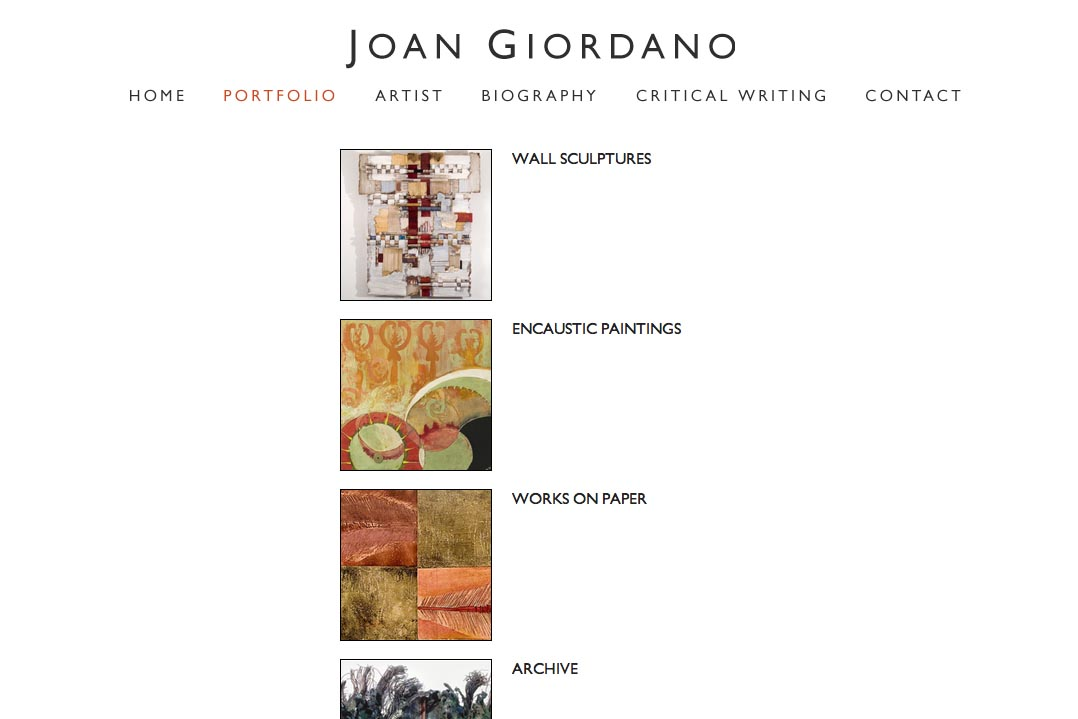 web design for a mixed media artist - portfolios page