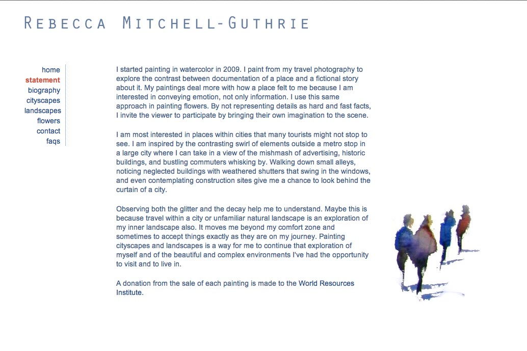 web design for a watercolor artist - Rebecca Mitchell Guthrie - statement page