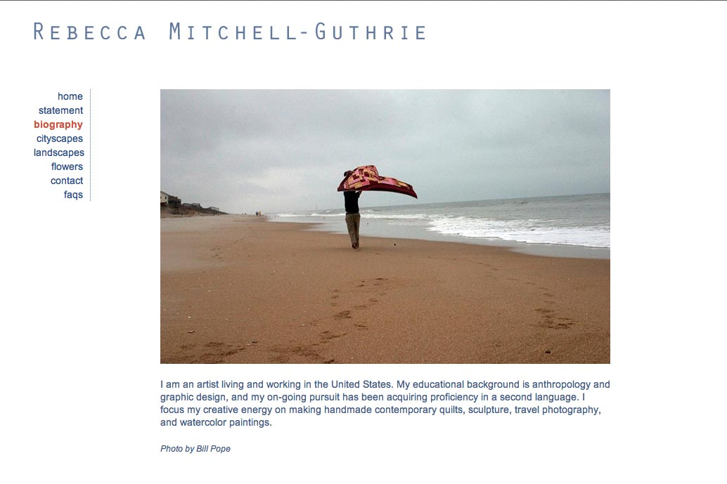 web design for a watercolor artist - Rebecca Mitchell Guthrie - biography page