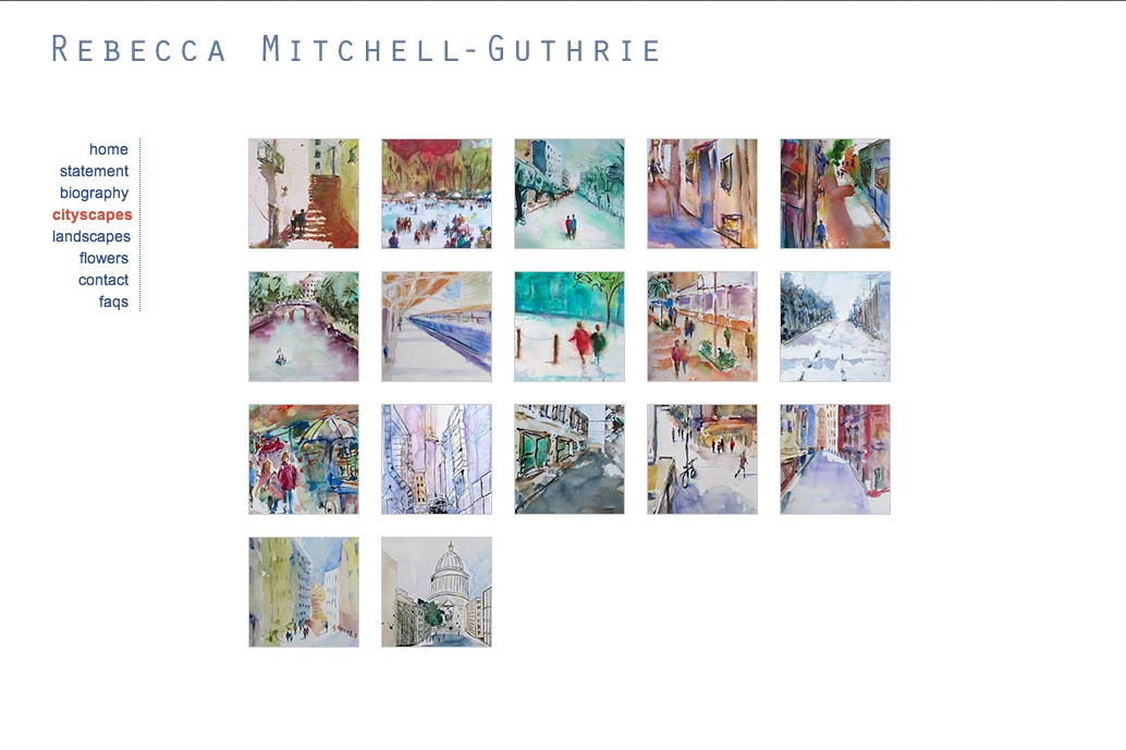 web design for a watercolor artist - Rebecca Mitchell Guthrie - cityscapes portfolio index page
