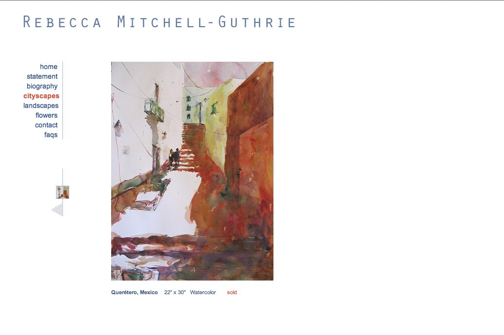 web design for a watercolor artist - Rebecca Mitchell Guthrie - cityscapes single artwork page