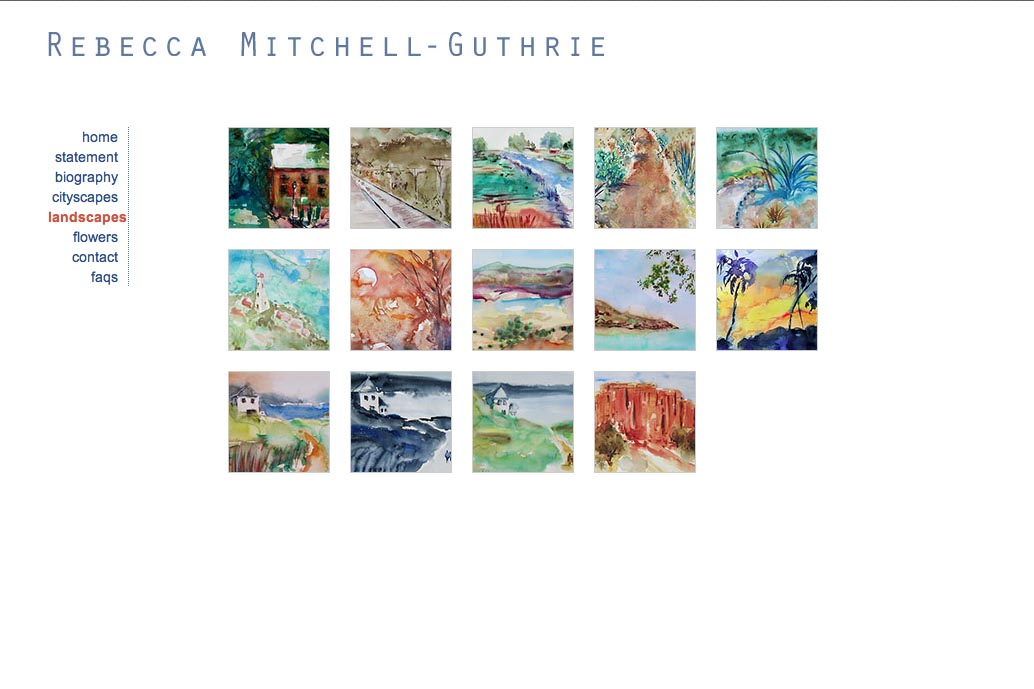 web design for a watercolor artist - Rebecca Mitchell Guthrie - landscape index page