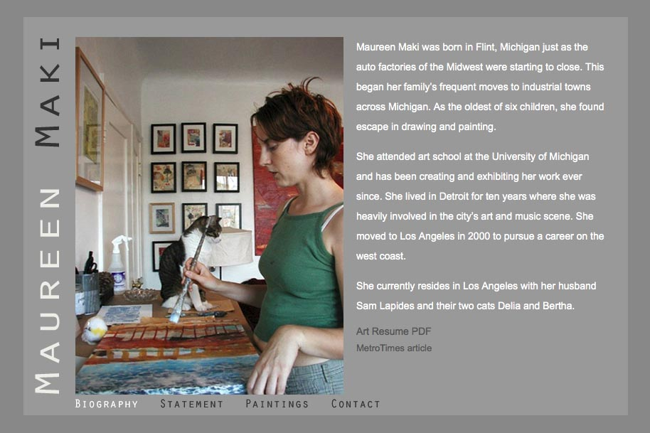 web design for an abstract artist - Maureen Maki - bio page
