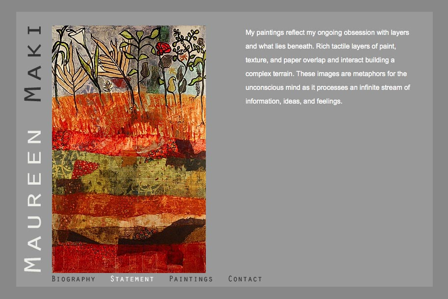 web design for an abstract artist - Maureen Maki - statement page