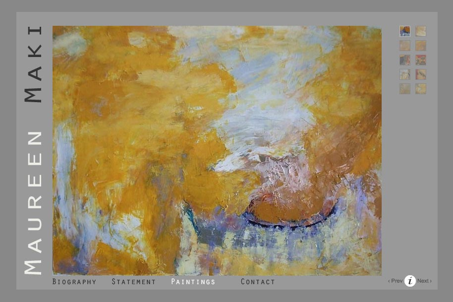 web design for an abstract artist - paintings page