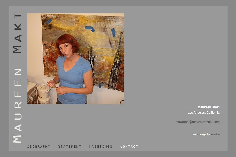 web design for an abstract artist - contact page