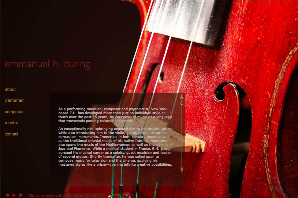 Web design for a global composer & musician - Emmanuel During - about page