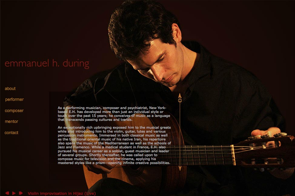 Web design for a global composer & musician - Emmanuel During - performance page