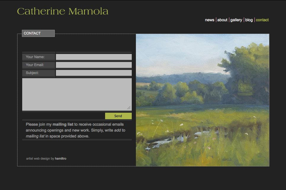 web design for a representational painter - contact page