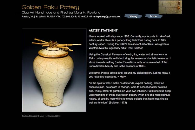 web design for Golden Raku Pottery