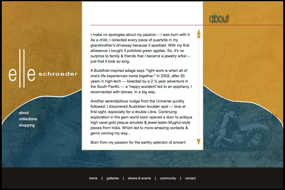 web design for a creative jeweler - Elle Schroeder - about page
