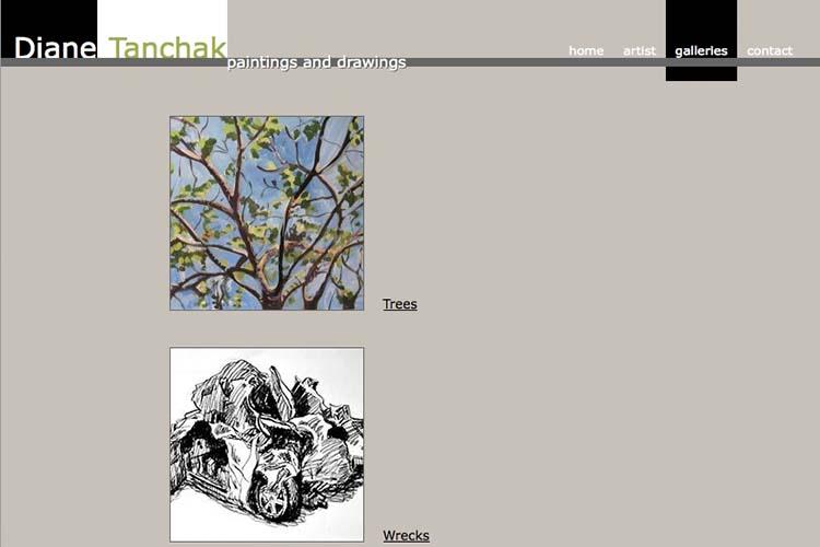 web design for an artist - portfolios page