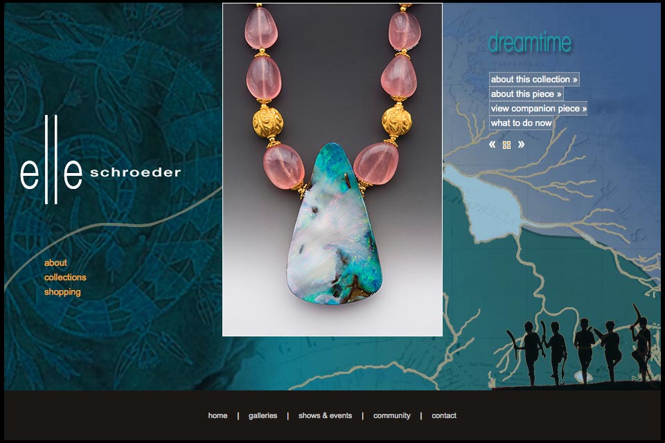 web design for a creative jeweler - Elle Schroeder - dreamtime collection single product page