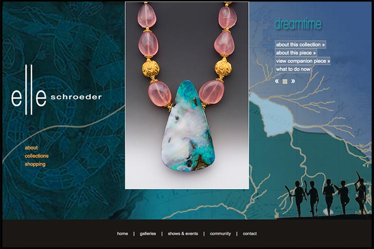 web design for a jeweler - dreamtime collection page