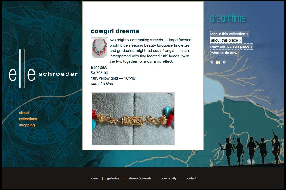 web design for a creative jeweler - Elle Schroeder - dreamtime collection detail page