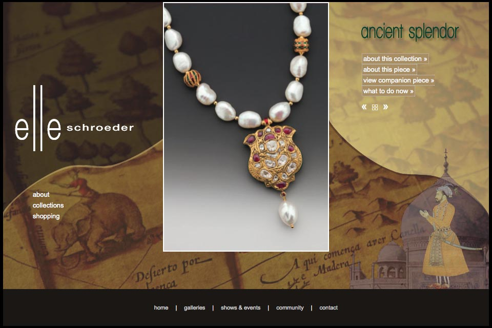 web design for a creative jeweler - Elle Schroeder -  ancient splendor collection product page