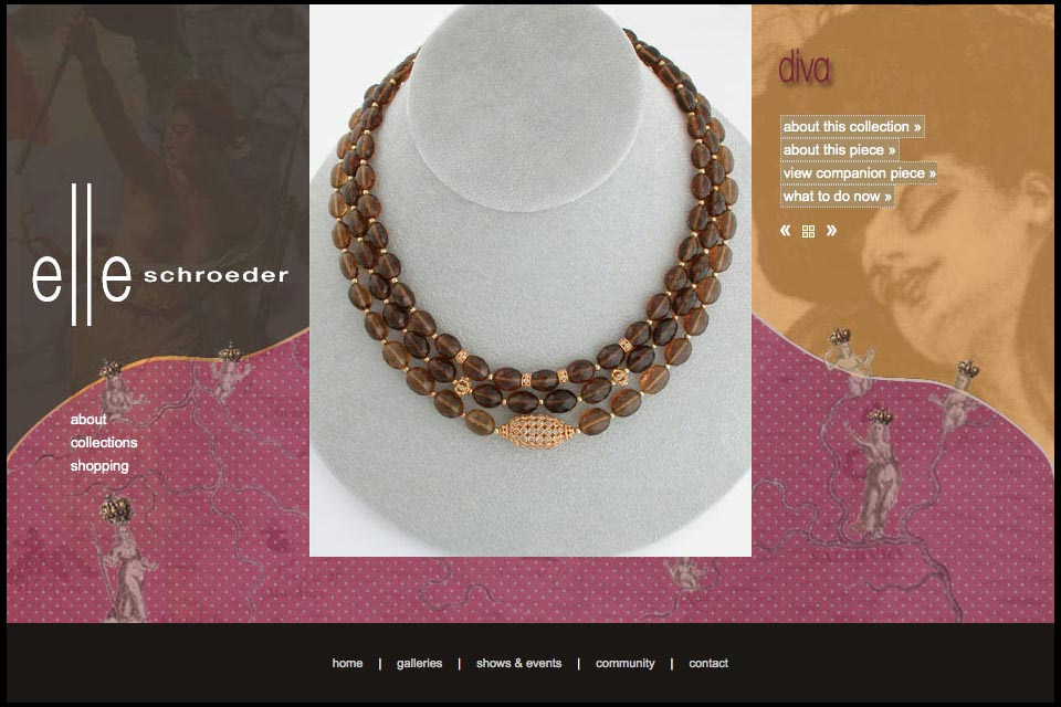 web design for a creative jeweler - Elle Schroeder - diva collection product page