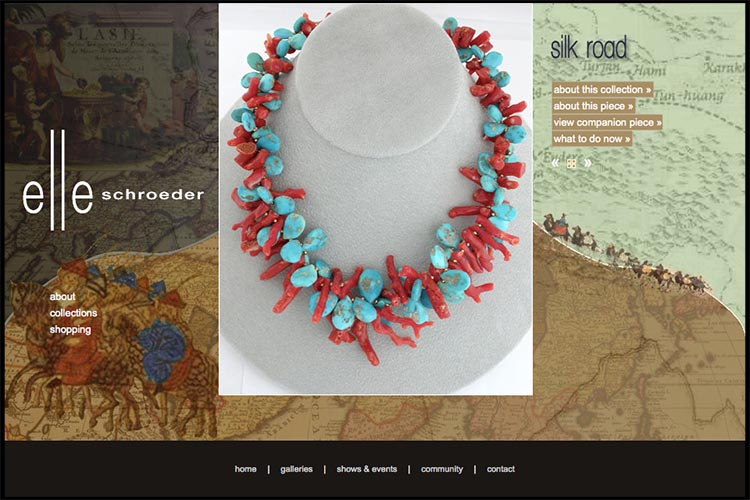 web design for a jeweler - silk road page