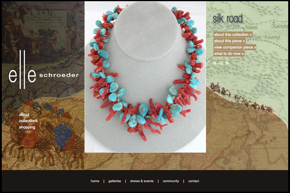 web design for a creative jeweler - Elle Schroeder - silk road collection product page