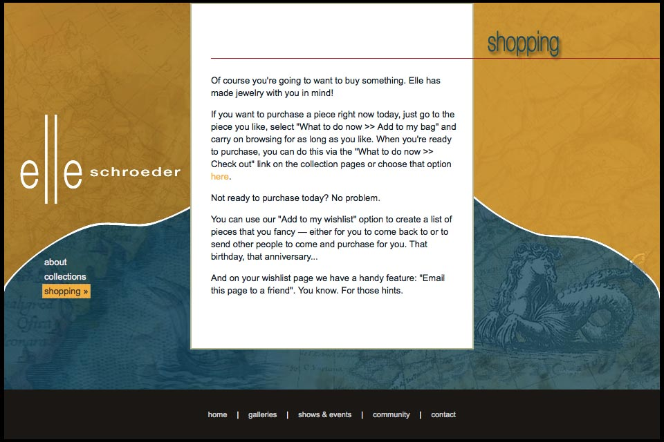 web design for a creative jeweler - shopping page