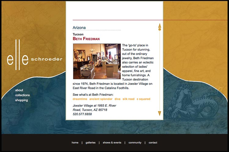 web design for a jeweler - galleries page