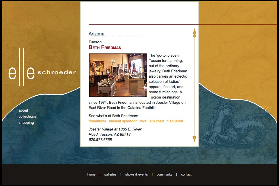 web design for a creative jeweler - Elle Schroeder - galleries page